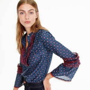 J.Crew Embroidered Bell Sleeve Blouse Top Foulard